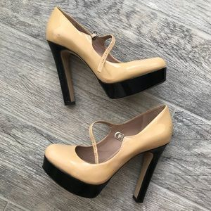 Nude and black Platform Mary Janes